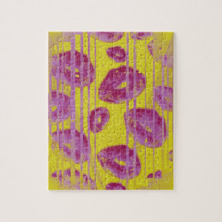 Neon Pink Yellow Kisses Jigsaw Puzzle