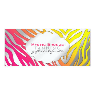 Neon Pink & Yellow Zebra Print Gift Certificates 4x9.25 Paper Invitation Card