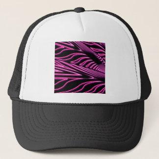 Neon pink zebra trucker hat