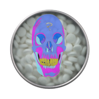 Neon Pixel Psychaedelic Halloween Skull Jelly Belly Candy Tin
