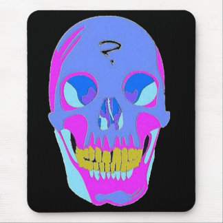 Neon Pixel Psychaedelic Halloween Skull Mousepad