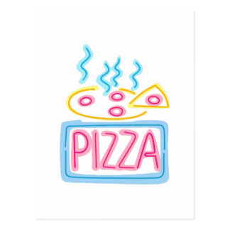 Neon Pizza Sign Postcard
