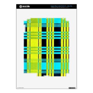 neon plaid iPad 3 skins
