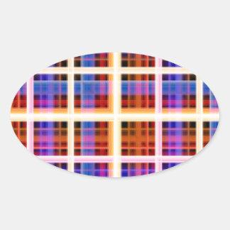 Neon Plaid Oval Sticker