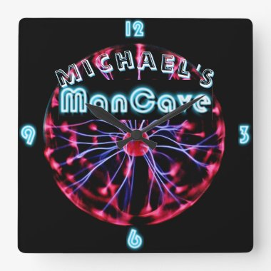 Neon Plasma Ball Mancave Gaming Den Personalized Square Wall Clock