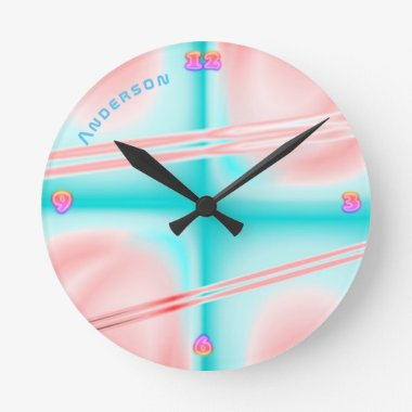 Neon Plasma Pink Blu Psychedelic Personalized Wall Round Clock
