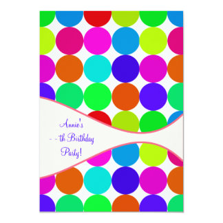 Neon Polka Dot Girls Any Number Bithday Party Card