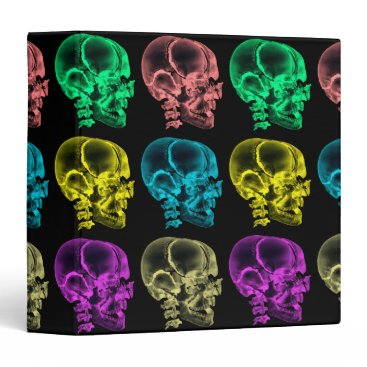 Halloween Themed Neon Pop Art Skulls Binder