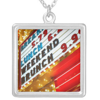 Neon promotional sign at casino, Las Vegas Silver Plated Necklace