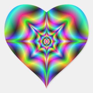 Neon Psychedelia Heart Sticker