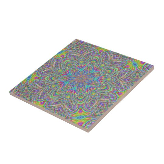 Neon Psychedelic Funky Floral Kaleidoscope Pattern Tile
