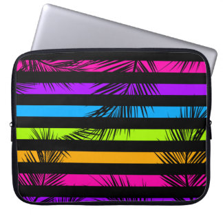 Neon Psychedelic Stripes Palm Trees Pattern Laptop Sleeves