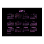 Neon Purple 2015 Wall Calendar Poster
