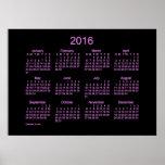 Neon Purple 2016 Wall Calendar Poster