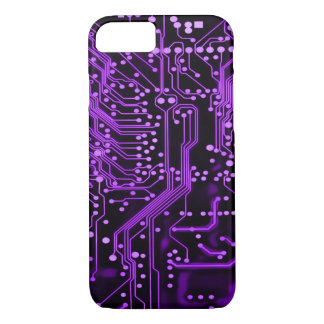 Neon Purple Alien Time Warp Circuit iPhone 7 Case