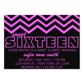 Neon Purple and Black Chevron Sweet 16 Invitation