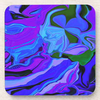 neon purple and blue art beverage coaster
