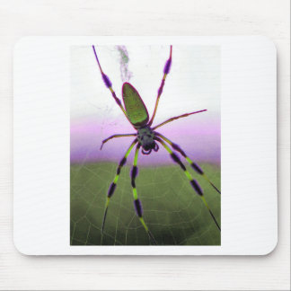 Neon Purple and Green Spider Mouse Pad
