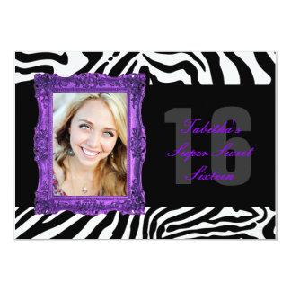 Neon Purple and Zebra   Sweet Sixteen Invitation