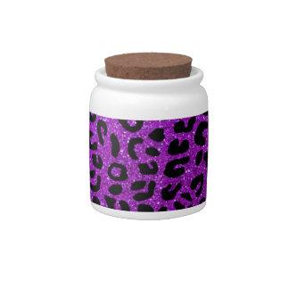 Neon purple cheetah print pattern candy dish
