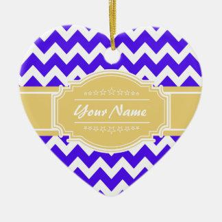 Neon Purple Chevron with Yellow Custom Name Ceramic Ornament
