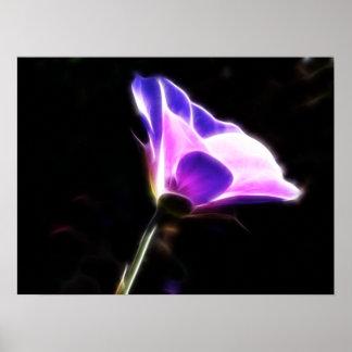 Neon Purple Flower Photo Poster