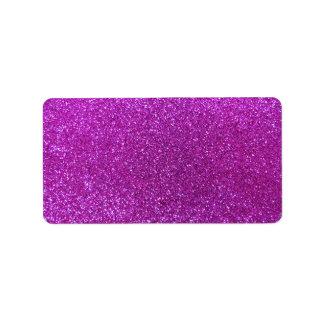Neon purple glitter label