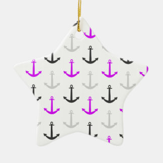 Neon Purple, Gray, Anchors; Nautical Double-Sided Star Ceramic Christmas Ornament