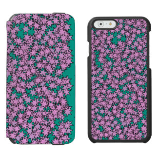 Neon Purple Green Turquoise Stars iPhone 6/6s Wallet Case