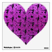 Neon purple gymnastics glitter pattern wall decal