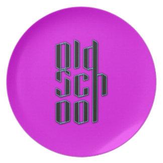 Neon Purple Old School Plates