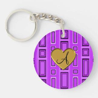 Neon purple retro squares monogram Double-Sided round acrylic keychain