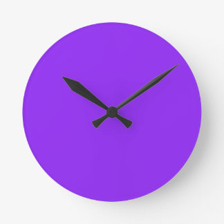 Neon Purple Solid Color Customize It Round Clock