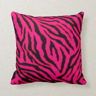 Neon Purple Tiger Stripes Animal Print Pillow