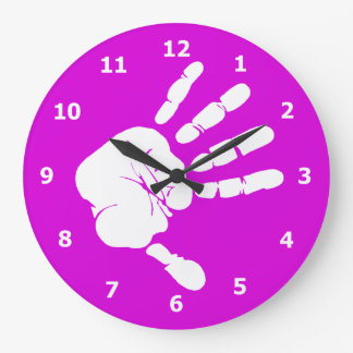 Neon purple Wall Clock with White Hand Print