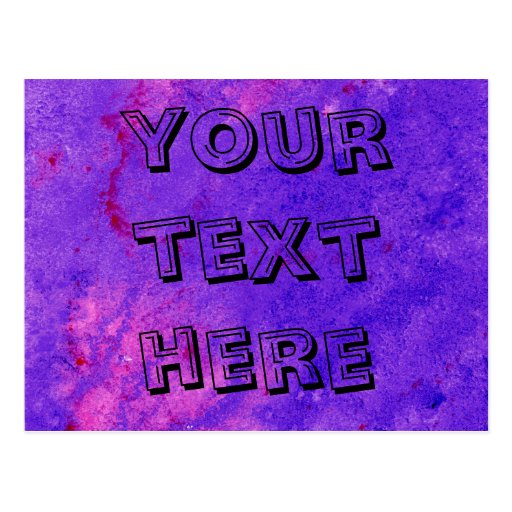 Neon Purple Watercolor Painting to Customize Postcard