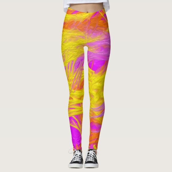 Neon purple, yellow and orange paint splashes leggings