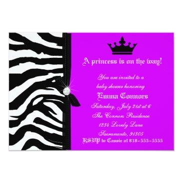 Toddler & Baby themed Neon Purple Zebra Baby Shower Card