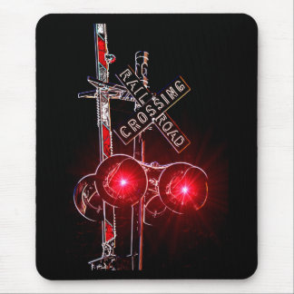Neon Railroad Crossing Signal Mouse Pad