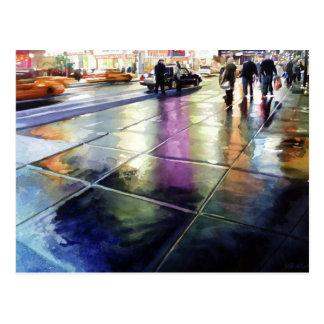 """Neon Rain"" New York Watercolor Postcard"