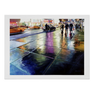 """Neon Rain"" New York Watercolor Poster"