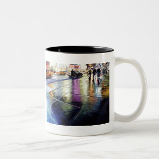 """Neon Rain"" New York Watercolor Two-Tone Coffee Mug"
