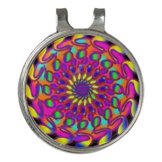 Neon Rainbow Black Mandala Golf Hat Clip