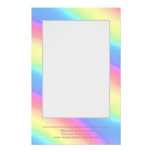 Neon Rainbow Diagonal Stripes Colors Gradient Stationery