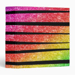 Neon Rainbow Faux Glitter Zebra Stripes 3 Ring Binder
