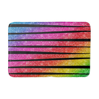 Neon Rainbow Faux Glitter Zebra Stripes Bath Mat