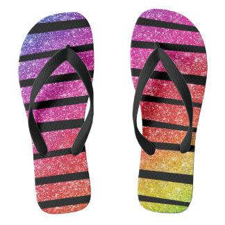 Neon Rainbow Faux Glitter Zebra Stripes Flip Flops