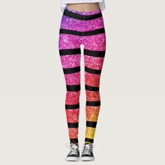 Neon Rainbow Faux Glitter Zebra Stripes Leggings