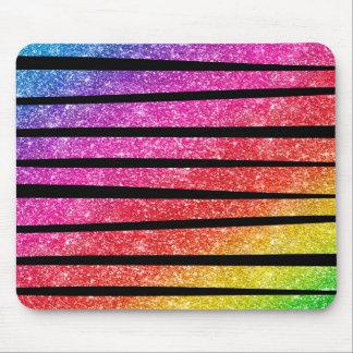 Neon Rainbow Faux Glitter Zebra Stripes Mouse Pad