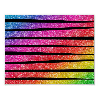 Neon Rainbow Faux Glitter Zebra Stripes Poster